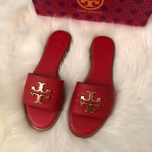 Tory Burch Everly Slide- Brilliant Red